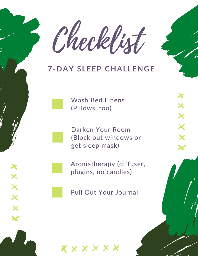 7-Day Sleep challenge check list